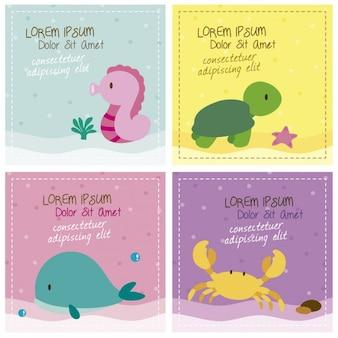 Criaturas do mar cartões