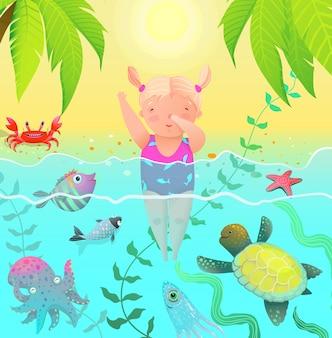 Criaturas do mar e uma linda menina bebê pulando na água com criaturas do mar oceano.