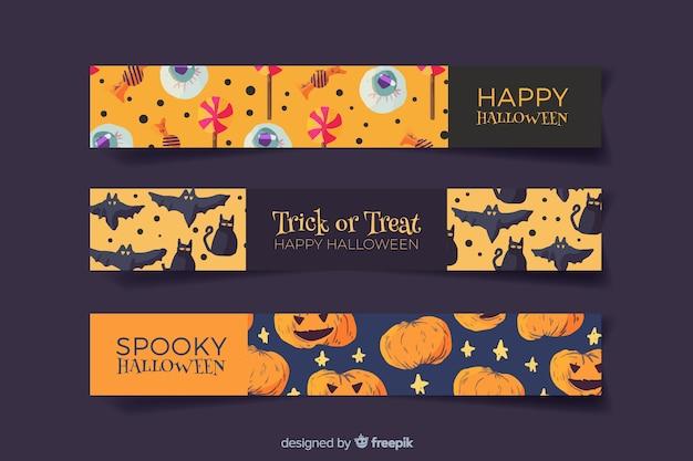 Criaturas em banners de halloween aquarela