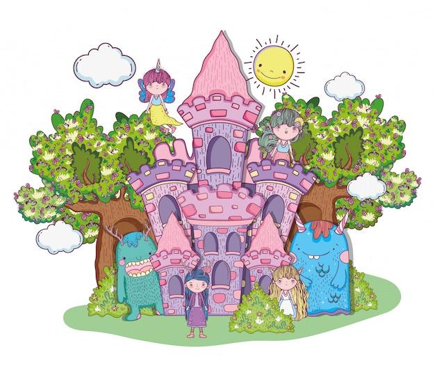 Criaturas fantásticas meninas no castelo com árvores e sol