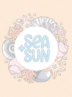 Criaturas marinhas e letras desenhadas à mão.