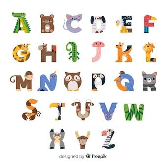 Criaturas minimalistas da vida selvagem no alfabeto