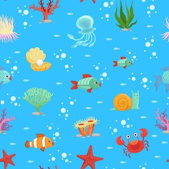 Criaturas subaquáticas dos desenhos animados e padrão sem emenda de algas