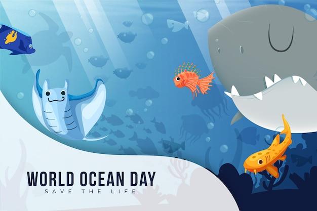 Criaturas subaquáticas felizes dia mundial do oceano