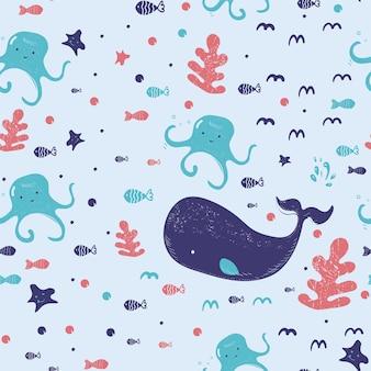 Criaturas subaquáticas padrão sem emenda de desenho animado bonito com algas baleia, polvo, estrela do mar e peixes