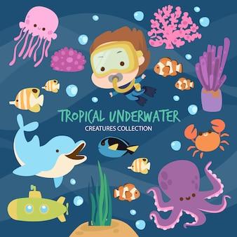 Criaturas subaquáticas tropicais
