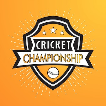 Cricket championship badge design em fundo amarelo abstrato.