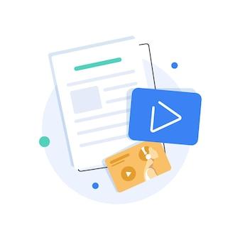 Crie conteúdo de vídeo e ganhe dinheiro design plano vlog ilustração vetorial ícone design plano