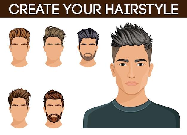 Crie, mude penteados. homens cabelo estilo hipster barba, bigode elegante e moderno.