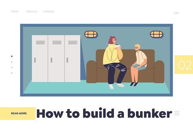 Crie o conceito de bunker da página de destino com a mãe e o filho em um abrigo seguro no subsolo. família protegida no fundo da adega sob a casa. ilustração em vetor plana dos desenhos animados