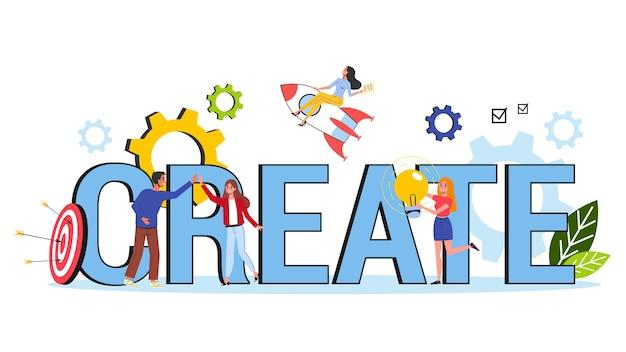 Crie o conceito. idéia de pensamento criativo e imaginação Vetor Premium