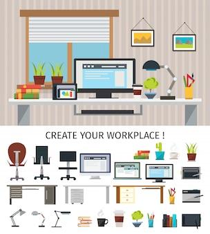 Crie o conceito interior do local de trabalho