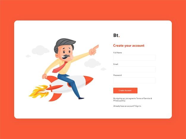 Crie seu modelo de página de inscrição de conta