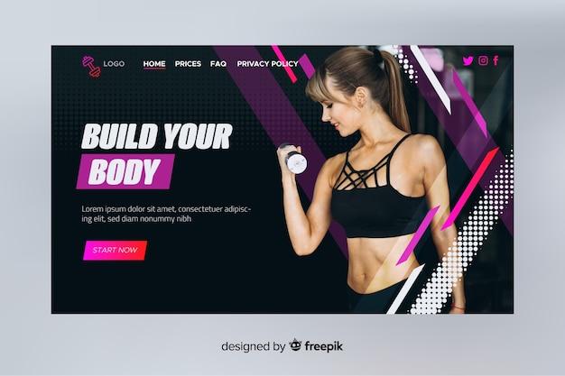 Crie sua página de destino para esportes corporais com foto