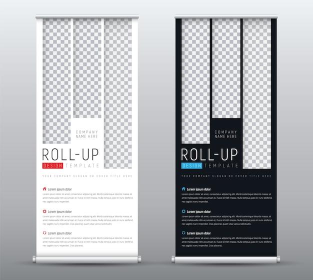 Crie um banner roll-up padrão para apresentações com retângulos verticais para a imagem.