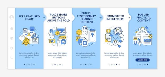 Crie um modelo de vetor de integração de dicas de conteúdo de tendência. site móvel responsivo com ícones. página da web com telas de 5 etapas. promova o conceito de cores para influenciadores com ilustrações lineares
