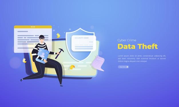 Crime cibernético sobre conceito de ilustração de roubo de dados