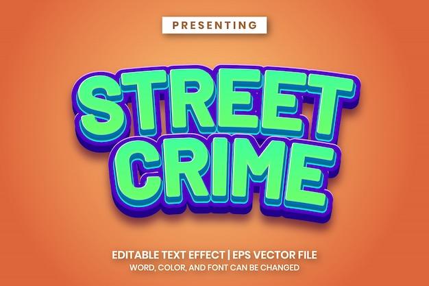 Crime de rua - jogo dos desenhos animados logotipo estilo texto editável