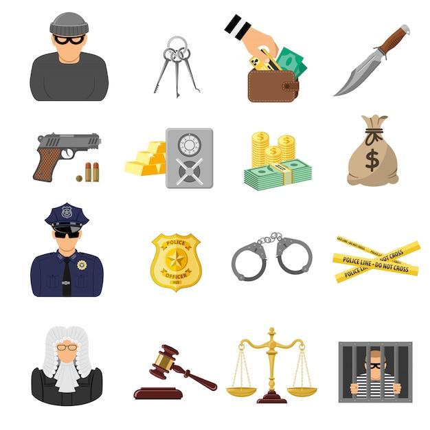 Crime e castigo ícones plana