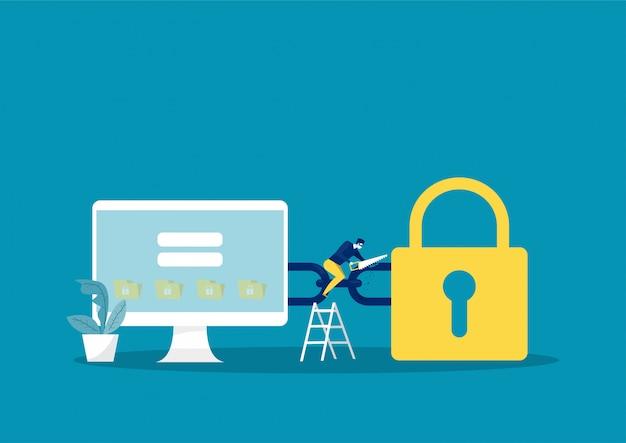 Crimes digitais, criminosos em máscaras, ladrões com ferramentas de serra, roubo de dados on-line, ilustração