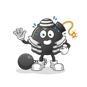 Criminoso de bomba. personagem de desenho animado