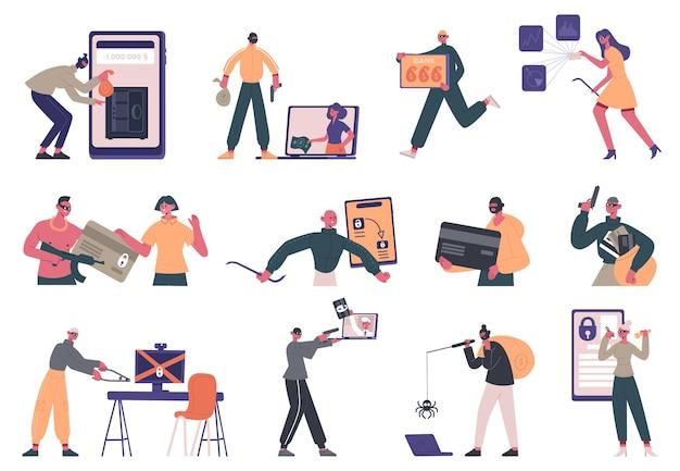 Criminosos cibernéticos. conjunto de personagens criminais de hackers, roubo de dados, fraude na internet e hacking de sistema de segurança