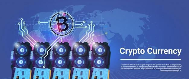 Cripto moeda bitcoin mineração agricultura horizontal banner mundo mapa fundo digital web dinheiro conceito