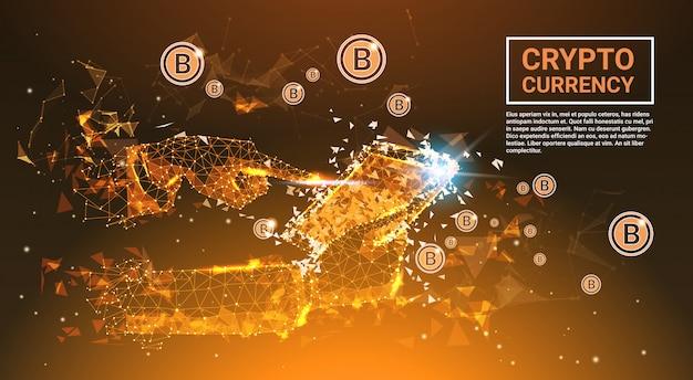 Cripto moeda conceito bitcoins dinheiro mão segurando tablet digital poligonal fusão design banner wi