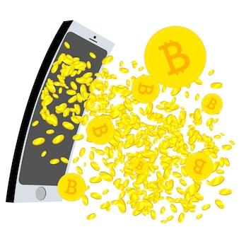Cripto moeda jorrando da tela do telefone mobil