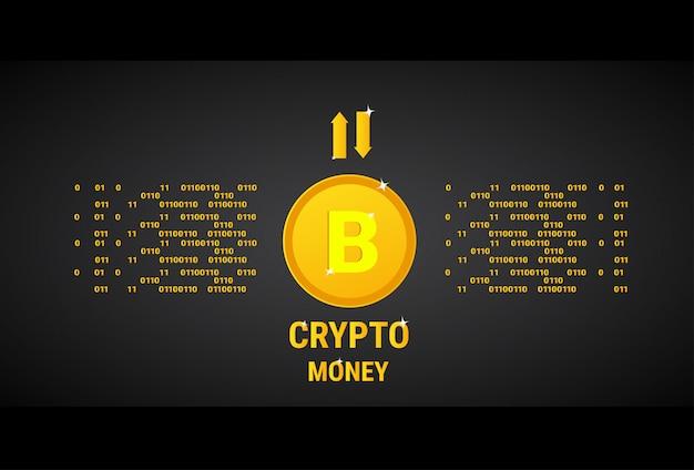 Cripto moeda moeda banner dourado bitcoin digital dinheiro conceito