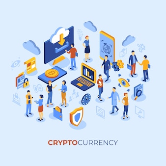 Criptocurrency bitcoin tecnologia personagens infográficos
