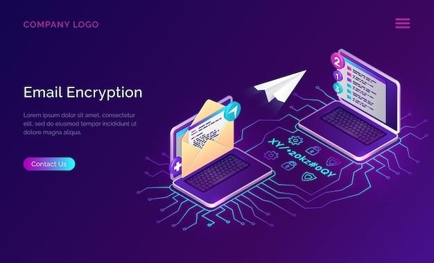 Criptografia de email, segurança de dados de conceito isométrico