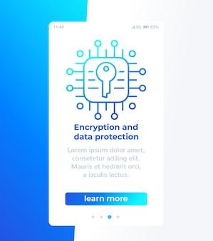 Criptografia e proteção de dados, design de banner móvel