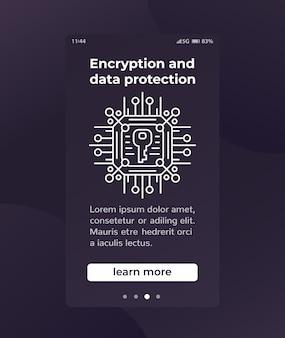 Criptografia e proteção de dados, design de banner
