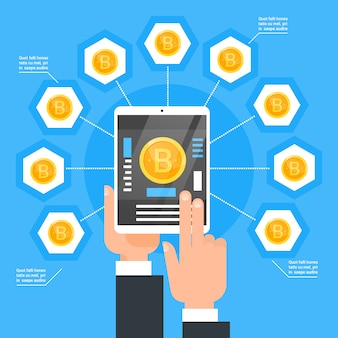 Criptomo moeda tecnologia bitcoin troca conceito hand segurando digital tablet compra dinheiro moderno web