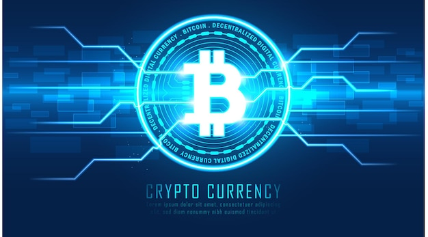Criptomoeda bitcoin com gráfico de circuito com textos de amostra, ilustrador vetorial