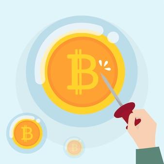 Criptomoeda bitcoin em estado de bolha