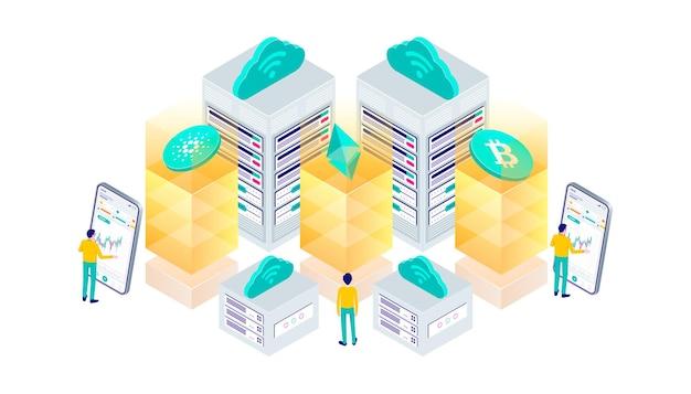 Criptomoeda bitcoin ethereum blockchain tecnologia de mineração internet iot segurança web painel isométrico ilustração 3d plana