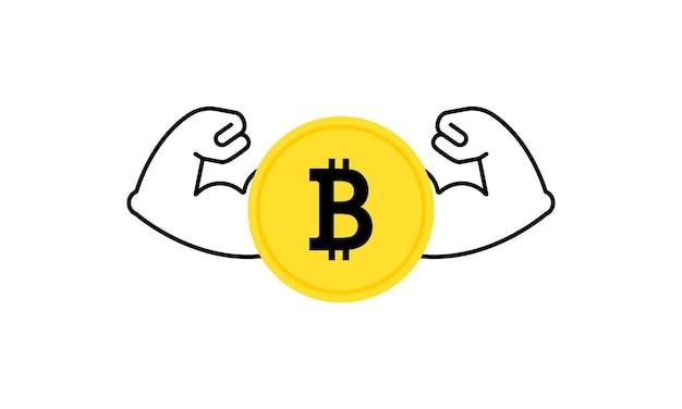 Criptomoeda bitcoin forte mostrando grandes músculos. aumento do valor do ouro digital. vetor em fundo branco isolado. eps 10.