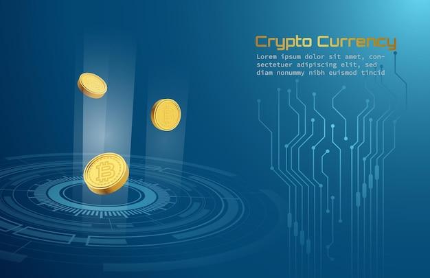 Criptomoeda bitcoins na casa de câmbio moderna sobre fundo azul de tecnologia futurista