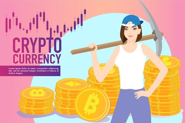 Criptomoeda conceito de negociação de moedas criptográficas