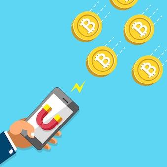 Criptomoeda conceito mão usando smartphone com ícone de ímã para atrair dinheiro moedas