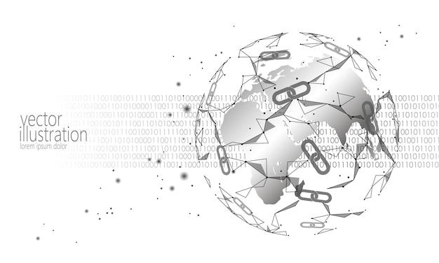 Criptomoeda de blockchain internacional global, espaço de planeta baixo poli