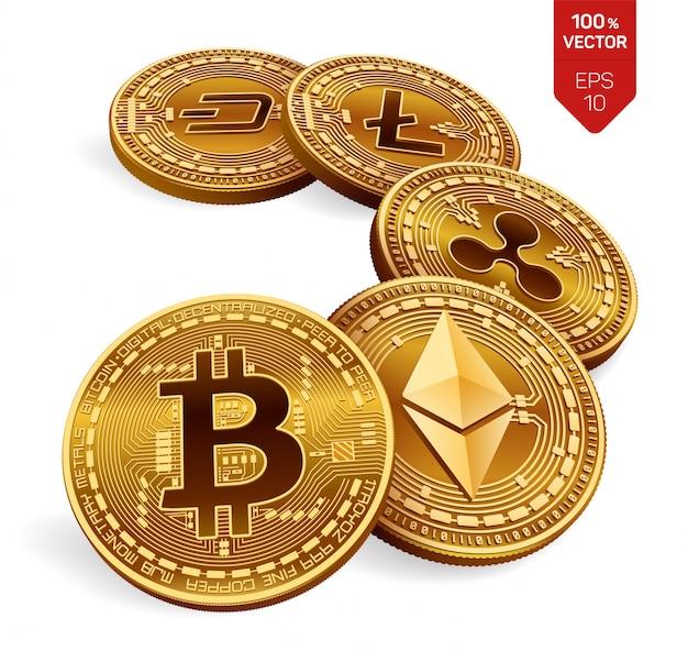 Criptomoeda de moedas físicas bitcoin, ripple, ethereum, dash e litecoin.