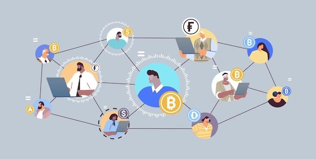 Criptomoeda de sistema financeiro descentralizado defi e conceito de tecnologia blockchain horizontal