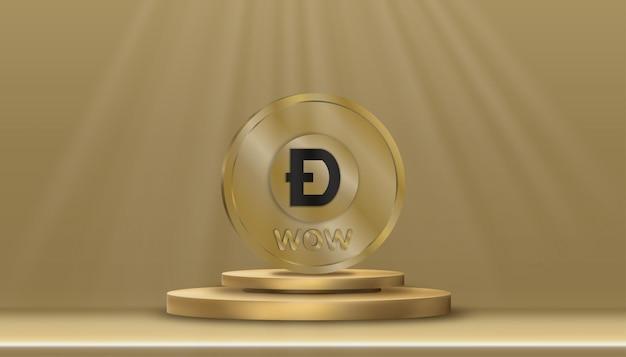 Criptomoeda digital de moeda doge dourada no suporte do cilindro.