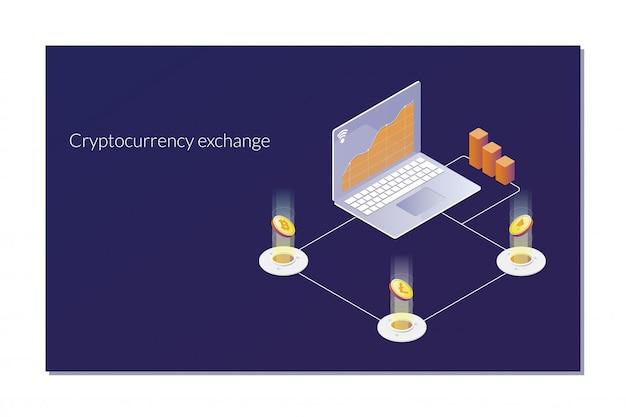 Criptomoeda e blockchain conceito