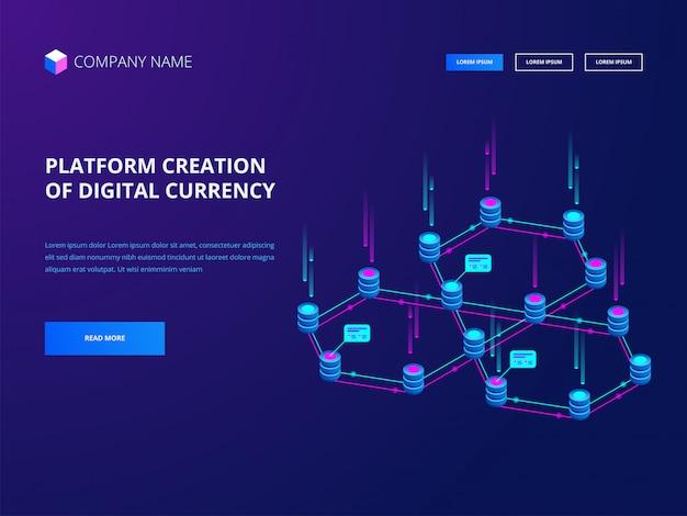 Criptomoeda e blockchain, criação de plataforma da página de destino do banner de moeda digital
