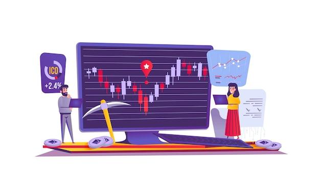 Criptomoeda e conceito de web de finanças em estilo cartoon