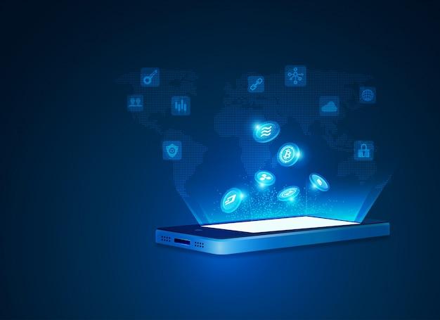 Criptomoeda e conceitos de tecnologia móvel